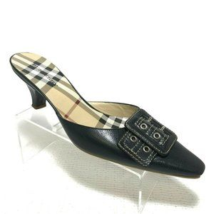 Burberry Women's 38 Mules shoes Black leather